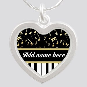 Personalized Piano and musical notes Silver Heart