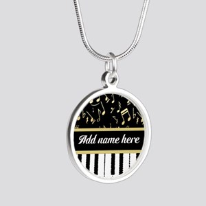 Personalized Piano and musical notes Silver Round