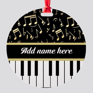 Personalized Piano and musical notes Round Ornamen