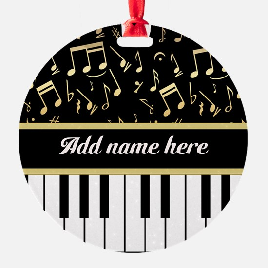 Personalized Piano and musical notes Ornament