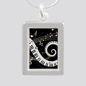 musicgiftsquare Silver Portrait Necklace
