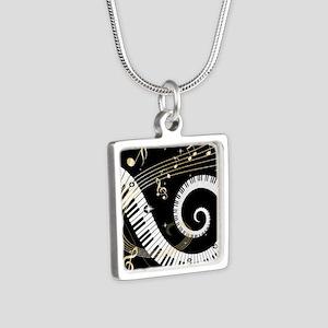 musicgiftsquare Silver Square Necklace
