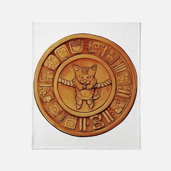 Mayan Cat Calander Throw Blanket