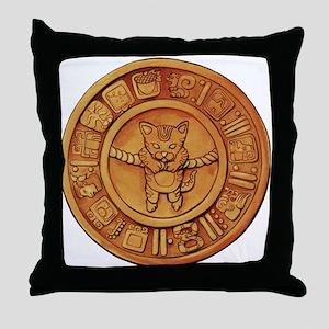 Mayan Cat Calander Throw Pillow
