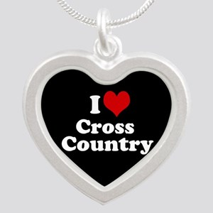 I heart (love) Cross Country Silver Heart Necklace