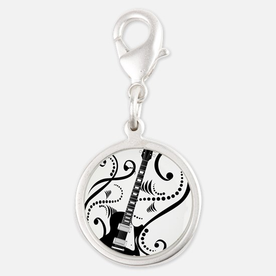guitarwaves2.png Silver Round Charm