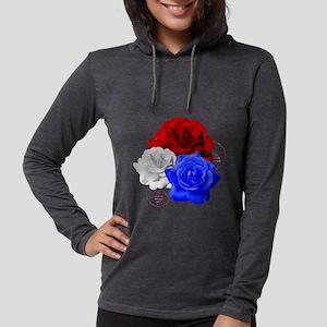Patriotic Flowers Womens Hooded Shirt