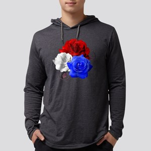 Patriotic Flowers Mens Hooded Shirt