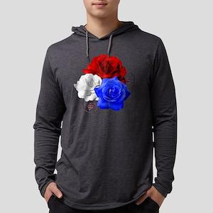 Patriotic Flowers Mens Hooded Shirt