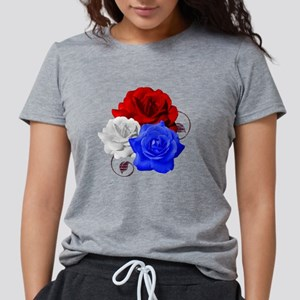 Patriotic Flowers Womens Tri-blend T-Shirt