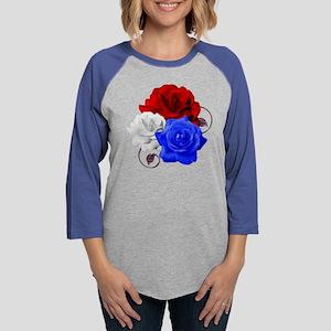 Patriotic Flowers Womens Baseball Tee