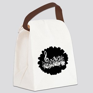 musicalnoteswhitesplodge Canvas Lunch Bag