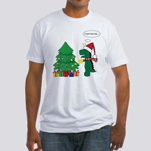 T-rex hates Christmas Fitted T-Shirt