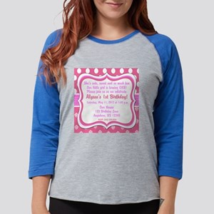 Pink Dot Damask Invitation Womens Baseball Tee