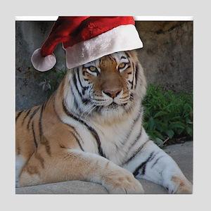 Santa Hat Bengal Tiger Tile Coaster