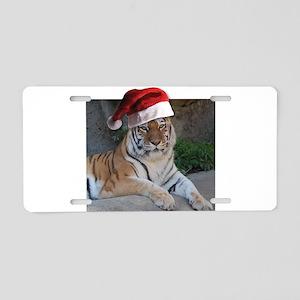 Santa Hat Bengal Tiger Aluminum License Plate