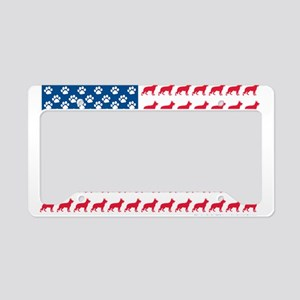 Patriotic German Shepherd License Plate Holder
