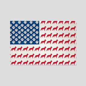 Patriotic German Shepherd Rectangle Magnet