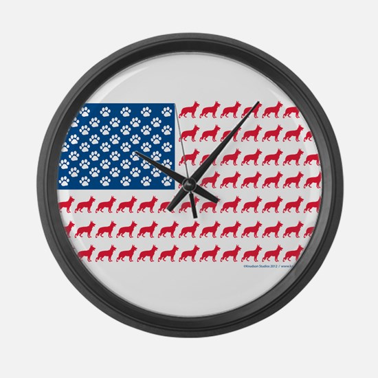 Patriotic German Shepherd Large Wall Clock