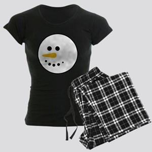 Snow Man Head Round Women's Dark Pajamas