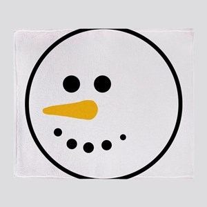 Snow Man Head Round Throw Blanket