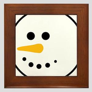Snow Man Head Round Framed Tile
