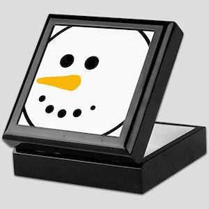 Snow Man Head Round Keepsake Box