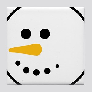Snow Man Head Round Tile Coaster