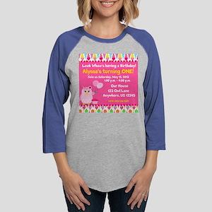 Girls Birthday Owl Invitation Womens Baseball Tee