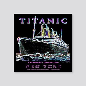 """Titanic Neon (black) Square Sticker 3"""" x 3"""""""