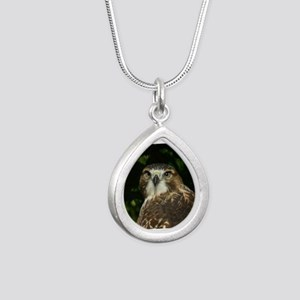 Red-tailed Hawk Silver Teardrop Necklace