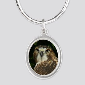 Red-tailed Hawk Silver Oval Necklace