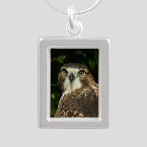 Red-tailed Hawk Silver Portrait Necklace