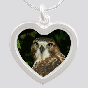 Red-tailed Hawk Silver Heart Necklace