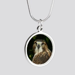 Red-tailed Hawk Silver Round Necklace
