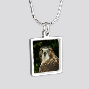Red-tailed Hawk Silver Square Necklace
