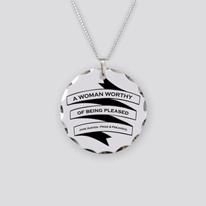 Woman Worthy of Being Pleased Necklace Circle Char