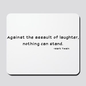 Mark Twain Laughter Quote - Black Mousepad
