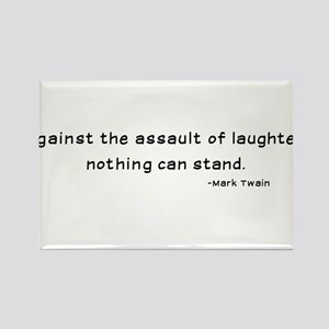 Mark Twain Laughter Quote - Black Rectangle Magnet