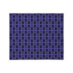 Purple and Black Goth Cat Pattern Throw Blanket