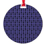 Purple and Black Goth Cat Pattern Round Ornament