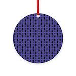 Purple and Black Goth Cat Pattern Ornament (Round)