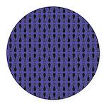 Purple and Black Goth Cat Pattern Round Car Magnet