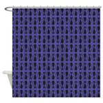 Purple and Black Goth Cat Pattern Shower Curtain