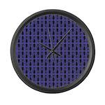 Purple and Black Goth Cat Pattern Large Wall Clock