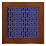 Purple and Black Goth Cat Pattern Framed Tile