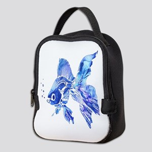 Blue Watercolor Goldfish Neoprene Lunch Bag