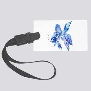Blue Watercolor Goldfish Large Luggage Tag