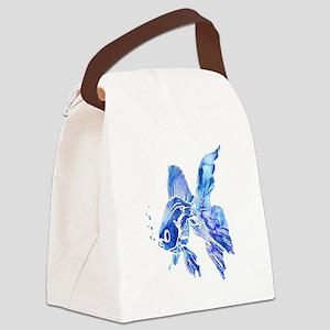Blue Watercolor Goldfish Canvas Lunch Bag