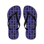 Purple and Black Goth Cat Pattern Flip Flops